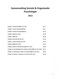 SUMMARY: Samenvatting Sociale & Organisatie psychologie