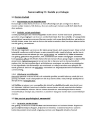 SUMMARY: Samenvatting Sociale Psychologie Roos Vonk
