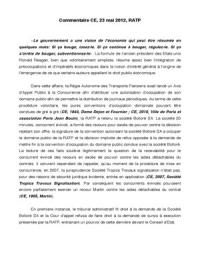 AUTRE: Commentaire de C.E., 23 Mai 2013, Régie Autonome des Transports Parisiens