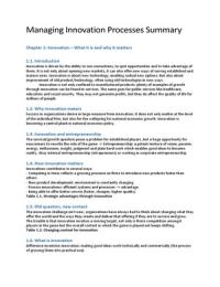 SUMMARY: Managing Innovation H1-12 - Tidd & Bessant 5th edition