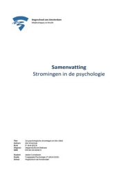 SAMENVATTING: Samenvatting - Zes psychologische stromingen en één cliënt - A. Weerman