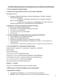 ZUSAMMENFASSUNG: Lernzettel Einführung in die qualitativen Methoden der empirischen Sozialforschung