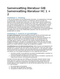 SUMMARY: Samenvatting literatuur + artikels GIB en de werkcolleges!