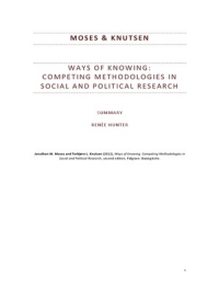 SUMMARY: Moses & Knutsen (2012): Ways of Knowing