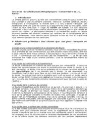 RESUME: Descartes, Méditations Métaphysiques, commentaire de Jean Louis Poirier