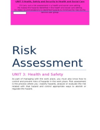 OTHER: Health and Social Care Unit 3 Health and Safety P3 M2 D1 Risk Assessment