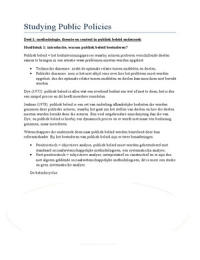 SAMENVATTING: Beleid 1: Studying Public Policies