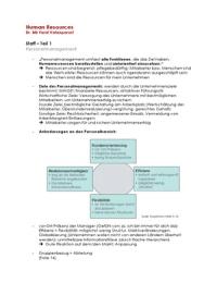 ZUSAMMENFASSUNG: Zusammenfassung und Klausurfragen zum Teilmodul Staff | Human Resources | HR