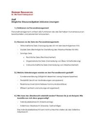 ZUSAMMENFASSUNG: Klausurübungen | Probeklausur mit Lösungen | Human Resources | HR | für das Teilmodul Staff