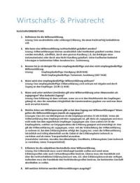 ZUSAMMENFASSUNG: Klausurvorbereitung zu Wirtschafts-und Privatrecht | Wirtschaftsrecht