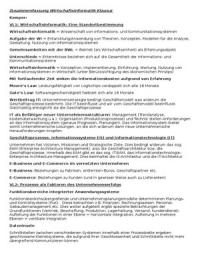 ZUSAMMENFASSUNG: Wirtschaftsinformatik BWL 3