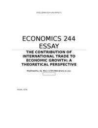 Essay of economic growth