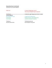 COLLEGEDICTAAT: Samenvatting kwantitatieve methoden