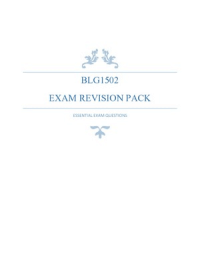 Exam: BLG1502 - Exam Revision
