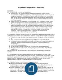 SUMMARY: Projectmanagement H1 t/m H11 (excl. H8) - Roel Grit 7e druk