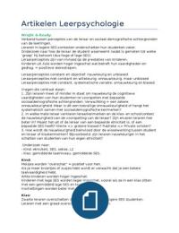 SAMENVATTING: Samenvatting van de drie artikelen van Leerpsychologie