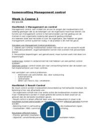 SAMENVATTING: Samenvatting Master Course Management Control