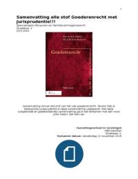 SAMENVATTING: Samenvatting alle stof   jurisprudentie Goederenrecht