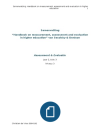 SUMMARY: Samenvatting Handbook on Measurement, Assessment and Evaluation in Higher Education