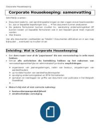 SAMENVATTING: Samenvatting Corporate Housekeeping