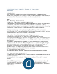 SAMENVATTING: Summary of Mindfulness-Based Cognitive Therapy - Segal, Williams and Teasdale