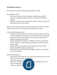 SUMMARY: Uitgebreide Aantekeningen Colleges Social Influence/ Lecture Notes Social Influence