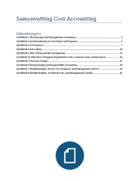 SUMMARY: Samenvatting Cost Accounting A Managerial Emphasis