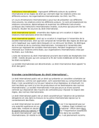 NOTES DE COURS: Institutions Internationales