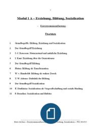VORLESUNGSMITSCHRIFT: Zusammenfassung Erziehung, Bildung, Sozialisation