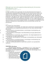 LECTURE NOTES: Parodontologie: College 3   4: Verschillende vormen van parodontitis 1 en 2