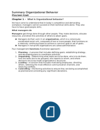 SUMMARY: Summary Organizational Behavior by Robbins & Judge