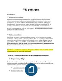 NOTES DE COURS: Vie politique - L1 Droit - Complet