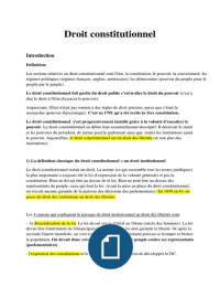 NOTES DE COURS: Droit constitutionnel - L1 Droit Semestre 1 - Complet