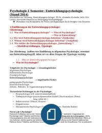 VORLESUNGSMITSCHRIFT: Klausurvorbereitung Entwicklungspsychologie 2014