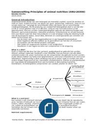 SAMENVATTING: Uitgebreide samenvatting Principles of Animal Nutrition (ANU-20306) Nienke Klerks