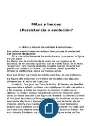 Examen: Mitos y heroes - La figura de Don Juan