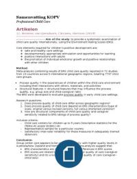 SUMMARY: Samenvatting artikelen KOPV 15/16 (professional child care)