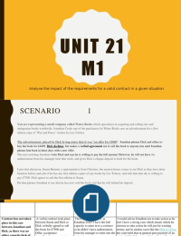 ESSAY: UNIT 21 M1:Analyse the impact of the requirements for a valid contract in a given situation