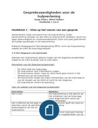 SUMMARY: Gespreksvaardigheden voor de hulpverlening H.1 t/m 5 (Ehlers, Volkers)