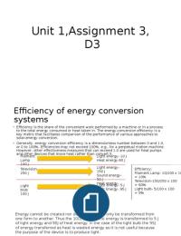 ESSAY:  Unit 1, D3 Level 3 applied science