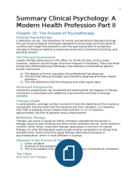 SUMMARY: Summary Clinical Psychology: A modern health profession by Linden, Hewitt Ch 10, 11, 12, 15