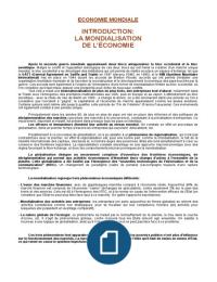 NOTES DE COURS: Economie mondiale (F. Munier)