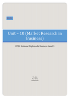 ESSAY: BTEC Business Unit 10, Market Research in Business P1 P2 (Describe types of market research.) (Explain how different market research methods have been used to make a marketing decision within a selected situation or business.)