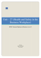 ESSAY: BTEC Business Unit 27, Health and safety in the Business Workplace P3 (Explain the roles and responsibilities for health and safety of key personnel in a selected workplace)