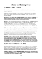 LECTURE NOTES: EC230 Money and Banking Full Revision Notes