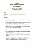 Exam: Human Anatomy MCQs with answers Level 4 2014