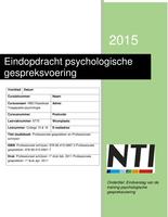 ESSAY: Eindopdracht psychologische gespreksvoering