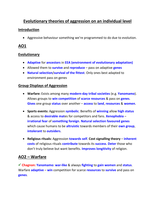 Evolutionary theories of aggression on an individual level Essay Plan This  is an essay plan for the evolutionary theories of aggression on an  individual