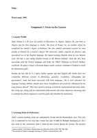 Examen: Written Assignment 1 - Focus on the learner
