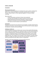 LECTURE NOTES: Summary Lectures Managment in health organizations